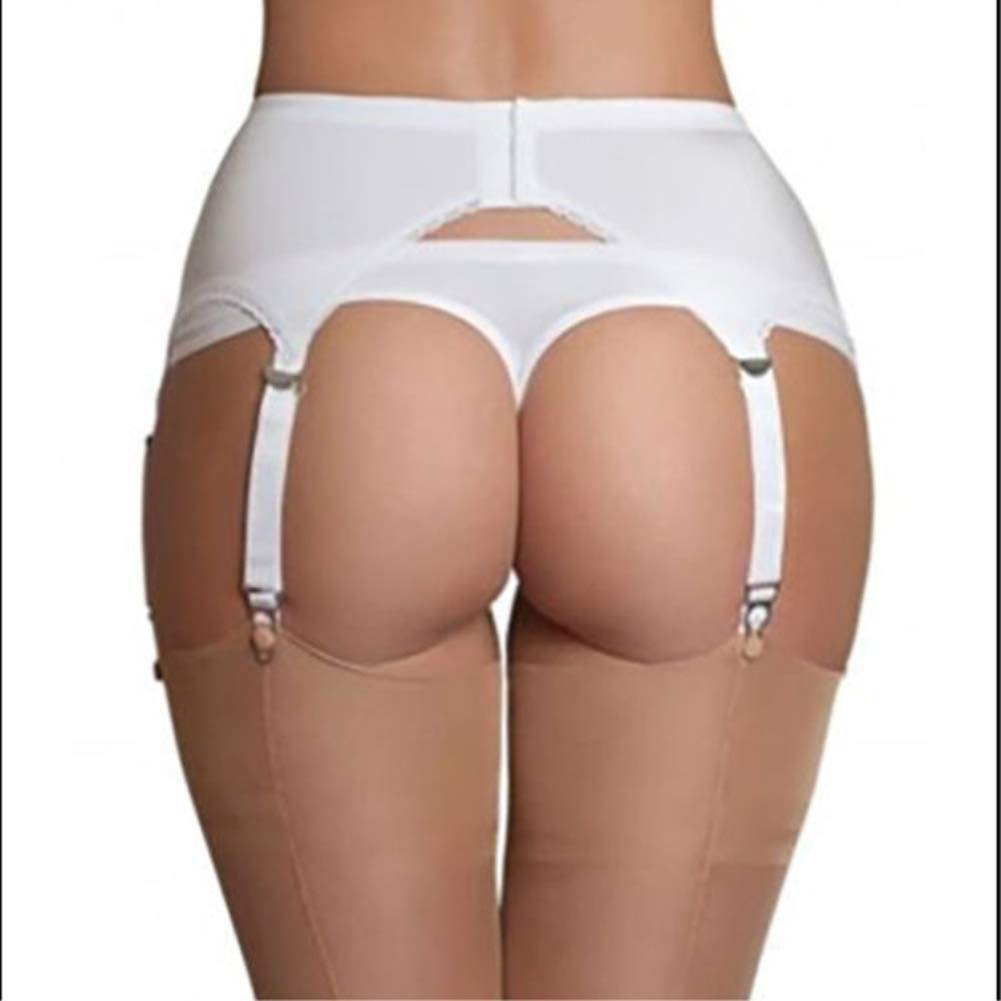 Bianco Nero PAOFU-Giarrettiera Elastica con 6 Reggicalze Regolabili Cinghie Clip in Metallo per Calze Alte Biancheria Intima da Donna