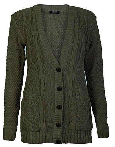 Nonno Cardigan Pulsante Cavo Donna essentials Chunky new Maglia Fashion Khaki 6gwUq