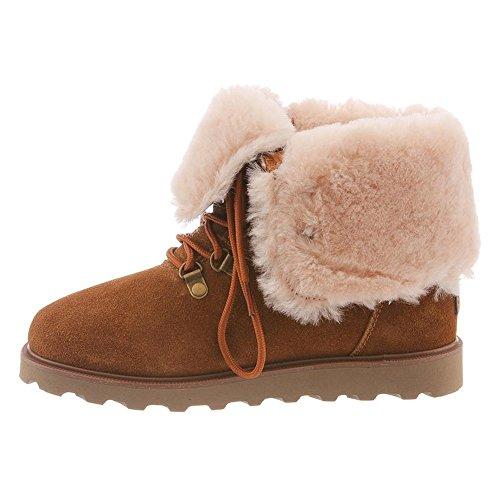 BEARPAW Womens Kayla II Suede, Wool, Sheepskin Fur Waterproof Boots Hickory Ii