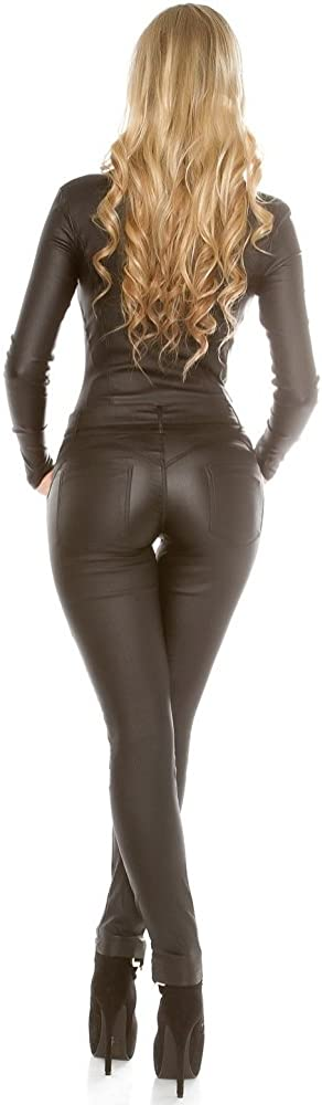 talla XS-XL. color negro y beige de manga larga Mono Koucla de aspecto de piel aspecto mojado