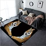 Vanfan Design Home Decorative Twin beautiful tiger face to face isolated on black background Modern Non-Slip Doormats Carpet for Living Dining Room Bedroom Hallway Office Easy Clean Footclot