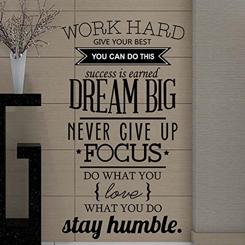 Ducklingup Wall Decal Quote Work Hard Dream Big Never Give