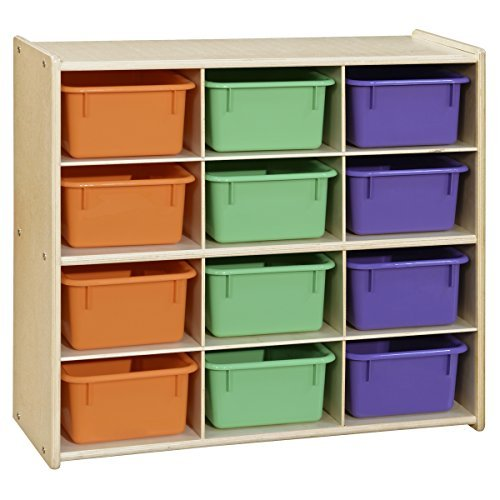 Cubby 12 Birch Storage Baltic - Contender C16123APF (COO2Z) Baltic Birch 12-Cubby Storage Unit with Assorted Pastel Trays - Assembled