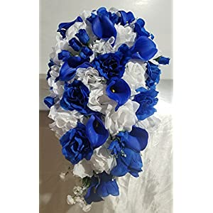 Horizon Royal Blue Rose Calla Lily Cascading Bridal Wedding Bouquet & Boutonniere 111