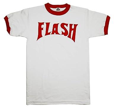 5641f25c Amazon.com: Flash Gordon Flash Bolt Ringer Adult White T-Shirt: Clothing