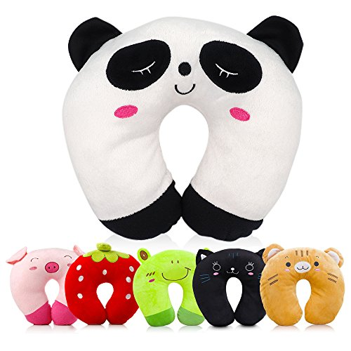 Travel Pillow for Kids Toddlers - Soft Neck Head Chin Support Pillow, Cute Animal, Comfortable in Any Sitting Position for Airplane, Car, Train, Machine Washable, attach luggage, Children gift (panda) (Childrens Travel Neck Pillow)