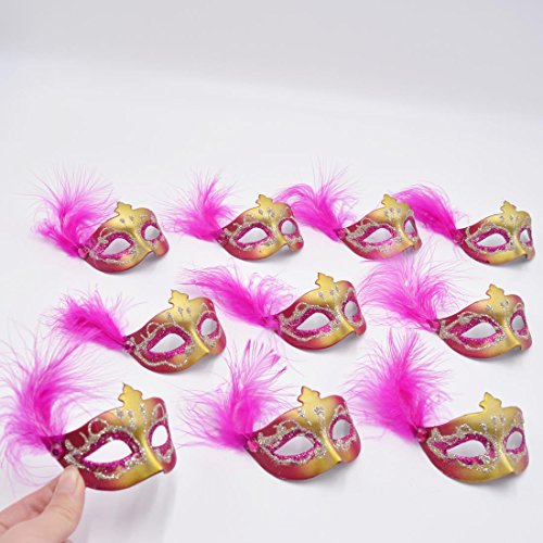 Cute Masquerade Masks (Yiseng Mini Masks 12pcs Set Colorful Feather Aside Venetian Masquerade Party Decoration Novelty Gifts (fuschia))