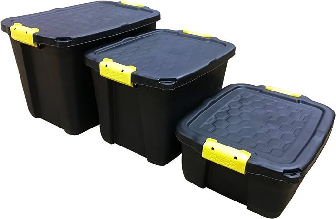 Cajas de almacenamiento resistentes y tapas, 24 l, 24 l y 60 l, 24 L: Amazon.es: Hogar