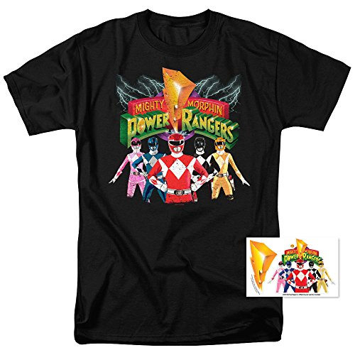 Power Rangers Unite T Shirt and Exclusive Stickers (XXX-Large) (Power Ranger Clothes)