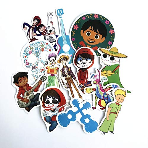Stickers Miguel - 13 Pcs/Lot Popular Movie Coco Hector Miguel Riveras Stickers for Phone Luggage Car Helmet Guitar TV Box Kid Decal Stickers