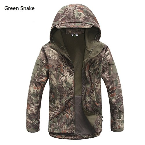 Lurker Shark Skin - Soft Shell V4 Outdoors Military Tactical Set - Men - Waterproof, Windproof - Pants and jacket Hunt Camouflage Army Clothing (Green snake, XL) ()
