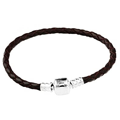 d363663d0 CHANGEABLE Base Bracelets for Charms -Brown Braided Leather, Barrel Clasp  of Solid 925 Sterling Silver (Classic), 17CM: TAOTAOHAS: Amazon.co.uk:  Jewellery