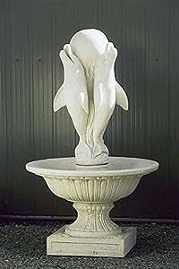 Brunnen, Jardín Brunnen, sobrehilado, Brunnen Fountain, delfines, antikfinish