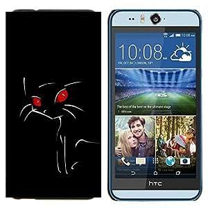 YiPhone /// Prima de resorte delgada de la cubierta del caso de Shell Armor - Minimalista gato de ojos rojos - HTC Desire Eye M910x