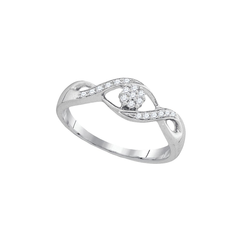 10kt White Gold Womens Round Diamond Twist Flower Cluster Ring 1/8 Cttw (I2-I3 clarity; I-J color)