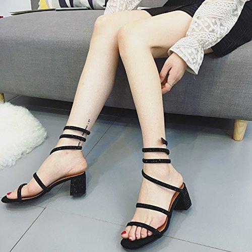Zapatos Mujer con MsFashion en y Verano Mujer par ZHANGJIA Moda Roma Zapatos un Rhiners de 38 de de 1Cwq6H
