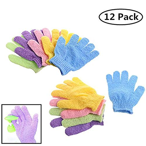 12 Pair Wholesale Lot Double Side Durable Exfoliating Skin Spa Bath Scrubs Bathing Gloves Shower Soap Clean Hygeine