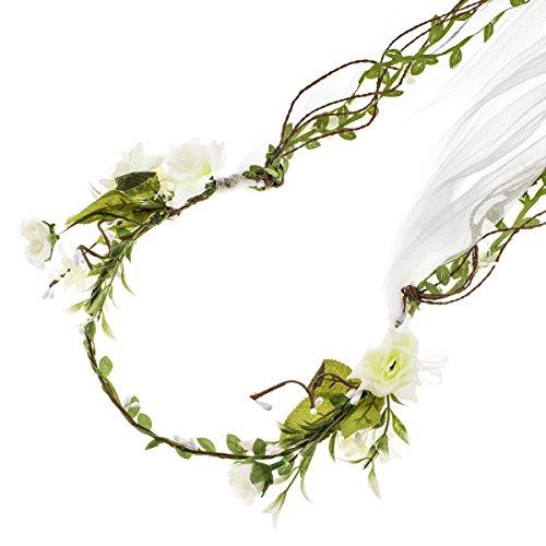 le Bridal Flower Garland Headband Flower Crown Hair Wreath Halo F-83 (D-Ivory Small Flower Veil) (Bridal Floral Veil)