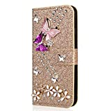 Miagon Diamond Case for Huawei P10,Luxury Glitter Rhinestone Butterfly Flower PU Leather Folio Flip Wallet Cover Magnetic Closure Card Slots,Gold