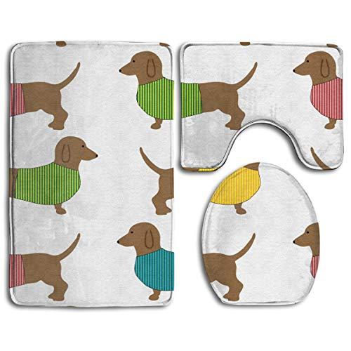(HDISJHF Dachshund Dog Cute Wallpaper 3-Piece Super Memory Foam Non-Slip Bath Mat Rug)
