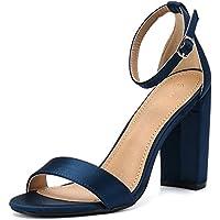 Moda Chics Women's High Chunky Block Heel Pump Dress Sandals