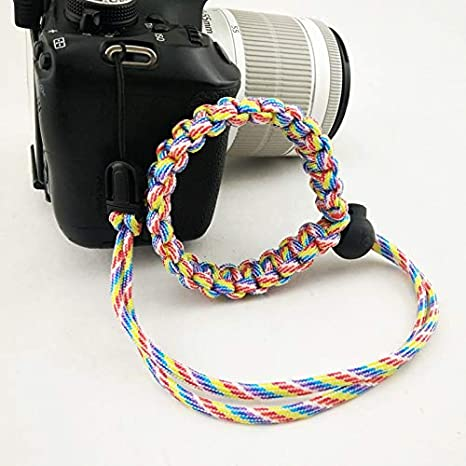 ROWEQPP Fashion Braided Digital Camera Strap Camera Wrist Strap Hand Grip Wristband Replacement for Nikon Compatible with Canon Compatible with Sony Red and Black Camouflage