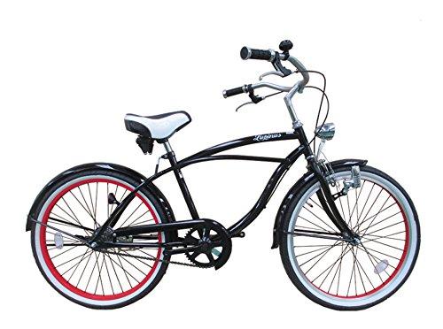 Lupinusルピナス 自転車 24インチ LP-24NBD ビーチクルーザー 極太タイヤ ワイドサドル 砲弾ライト 100%完成品 B00LJB3B3C ブラック ブラック