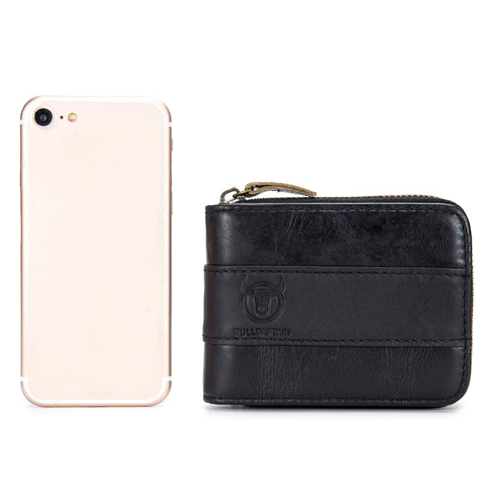 Large Capacity ID Window Card Case with Zip Coin Pocket Short Purse Genuine Leather Wallet