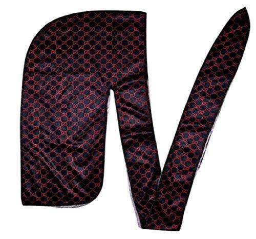 Apparel Men Headwear (Customs Slippery Apparel | Designer Durag (30+ Designs) Fashion Durags LV Supreme Ape & More (Black/Red GG))