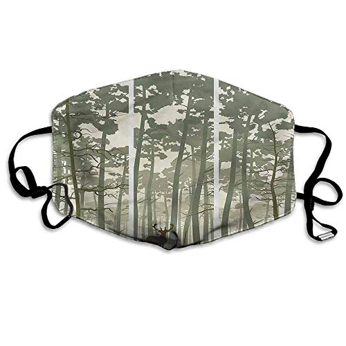 Forest Dust Mouth Mask Pine Trees Deer Motif for Men and Women W4