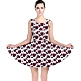 CowCow Purple Pattern with Wine Glasses Skater Dress
