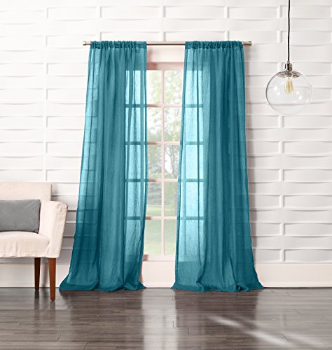 No. 918 Tayla Crushed Sheer Voile Rod Pocket Curtain Panel, 50″ x 95″, Marine Teal