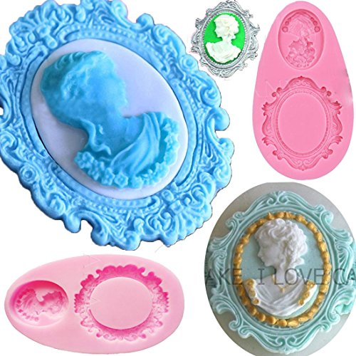 Anyana Vintage victorian Picture oval cameo Frame Photo mirror mould cake Fondant gum paste silicone mold for Sugar past wedding cupcake decorating topper decoration sugarcraft decor set of ()