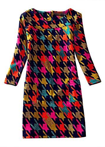 Jcotton-Women-Spring-Floral-Print-Long-Sleeve-Boat-Neck-A-line-Tunic-Shift-Casual-Dress