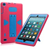 All-New Amazon Fire 7 2017 Case, Eontry Shockproof Heavy Duty Full Body Cover Rubber Plastic Protective Case with Build-in Kick Stand For All-New Fire 7 (7th Gen 2017 Release) (Rose + Blue)