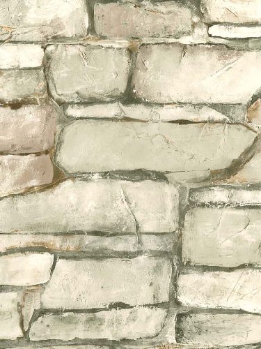 Wallpaper Faux Stacked Rock Stone Wall Green Tan and Beige