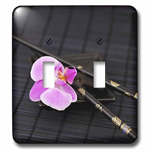 Flower Chop Plate - 3dRose Andrea Haase Nature Photography - Pink orchid in Asia style with chop sticks - Light Switch Covers - double toggle switch (lsp_266539_2)