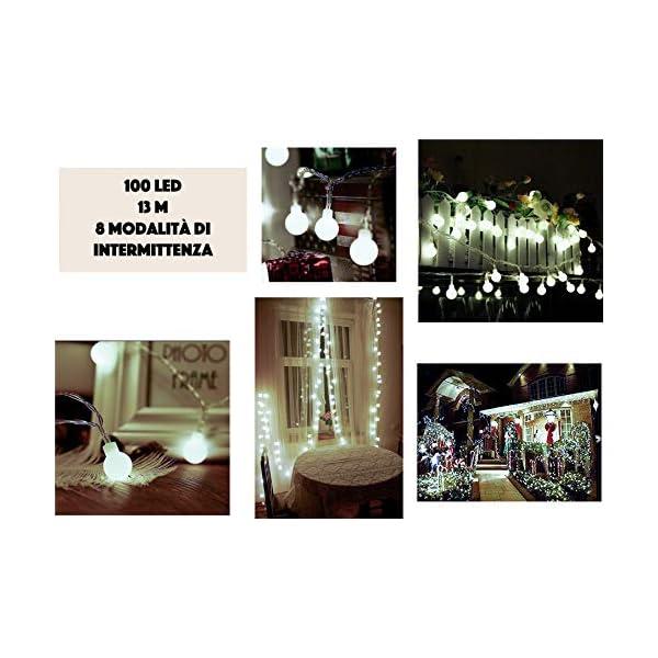 JP-LED Catena Luminosa Di Luci Led 13M【filo di 100 lampadine 10M e Cavo Di Prolunga 3M】Luci Da Esterno E Interno Con 8 Modalità Flash. Per Giardino, Casa, Feste, Natale, Matrimonio, Decorazioni 2 spesavip