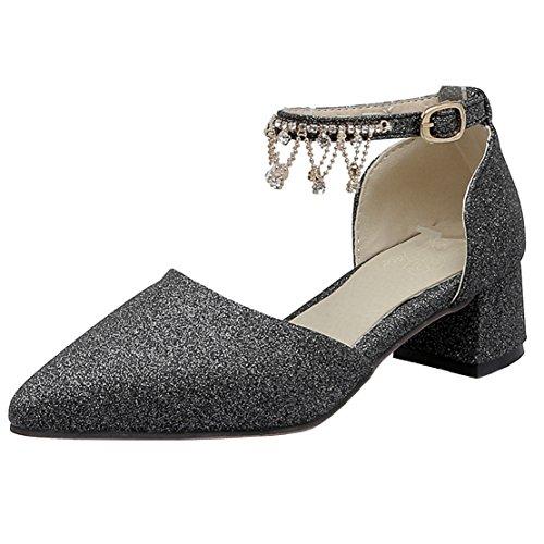 AIYOUMEI Damen Spitz Glitzer Blockabsatz Knöchelriemchen Pumps mit 4cm Absatz und Strass High Heels Modern Schuhe Schwarz