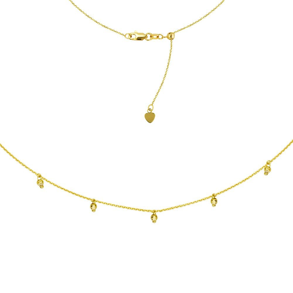 14kt Yellow Gold 5 pc Dangle DC Bead Choker Adjustable Necklace