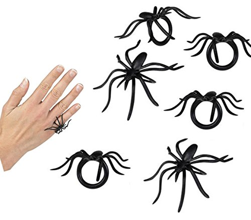 Play Kreative Halloween Spider Rings - Pack of 144 PCS Spider Costume Accessories, Party Favors, Loot Trick Treat -