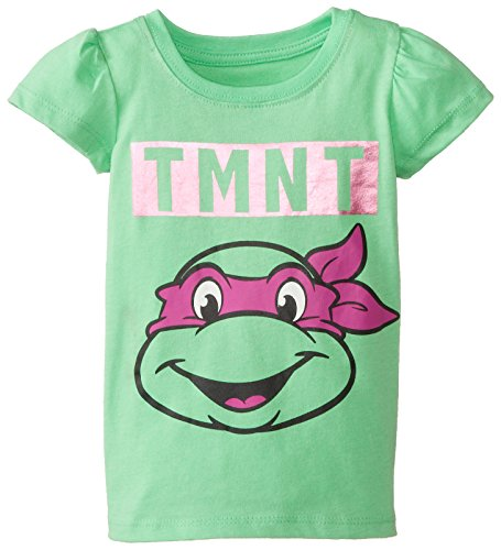 Teenage Mutant Ninja Turtles Little Girls' Toddler Pizza T-Shirt, Neon Green, (Ninja Turtles Logo T-shirt)
