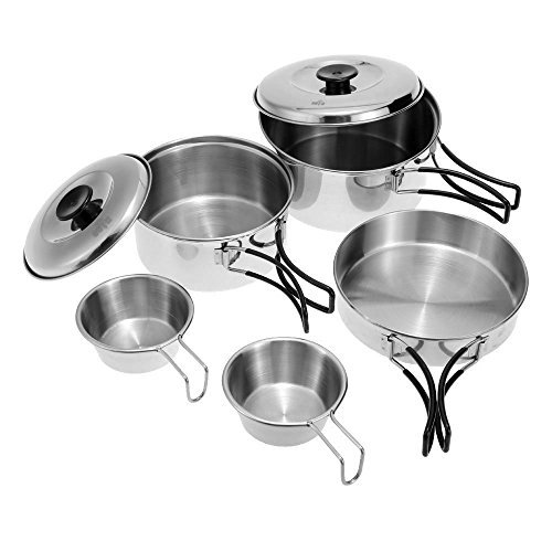 Docooler Outdoor Camping Hiking Cookware Backpacking Cooking Picnic Bowl Pot Pan Set Stainless Steel Cook Set by Docooler