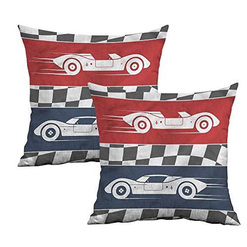 Khaki home Boys Room Square Funny Pillowcase Cars Logo Flag Winner Square Zippered Pillowcase Cushion Cases Pillowcases for Sofa Bedroom Car W 24