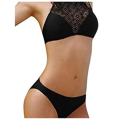 37c91f08e5 Fathoit Femmes Sexy Push-Up Rembourré Soutien-Gorge Sexy Dentelle Patchwork Bikini  Maillot De Bain Plage Set Maillots De Bain Bain Deux-PièCes: Amazon.fr: ...
