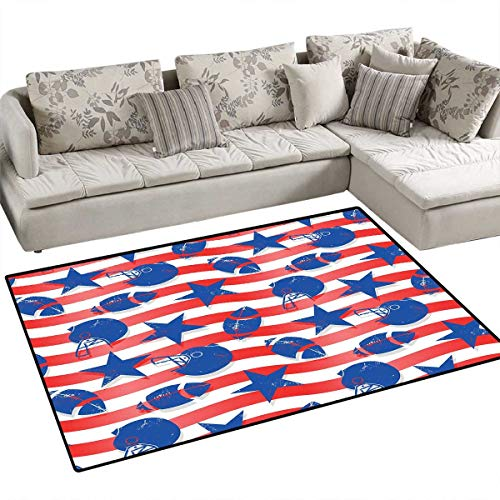 (Football Bath Mats Carpet Wavy Stripes and National Sport Icons in American USA Inspired Colors Door Mats for Inside Non Slip Backing 4'x6' Coral Violet Blue White)