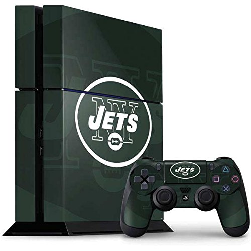 (Skinit NFL New York Jets PS4 Console and Controller Bundle Skin - New York Jets Double Vision Design - Ultra Thin, Lightweight Vinyl Decal Protection )