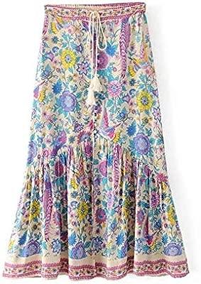 Yunbo-WS Falda de Mujer Falda Bohemia de Las Mujeres con Estampado ...