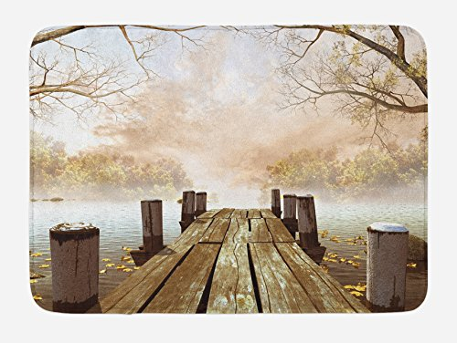 Ambesonne Autumn Bath Mat, Old Wooden Jetty on a Lake with Fallen Leaves and Foggy Forest in Distance, Plush Bathroom Decor Mat with Non Slip Backing, 29.5