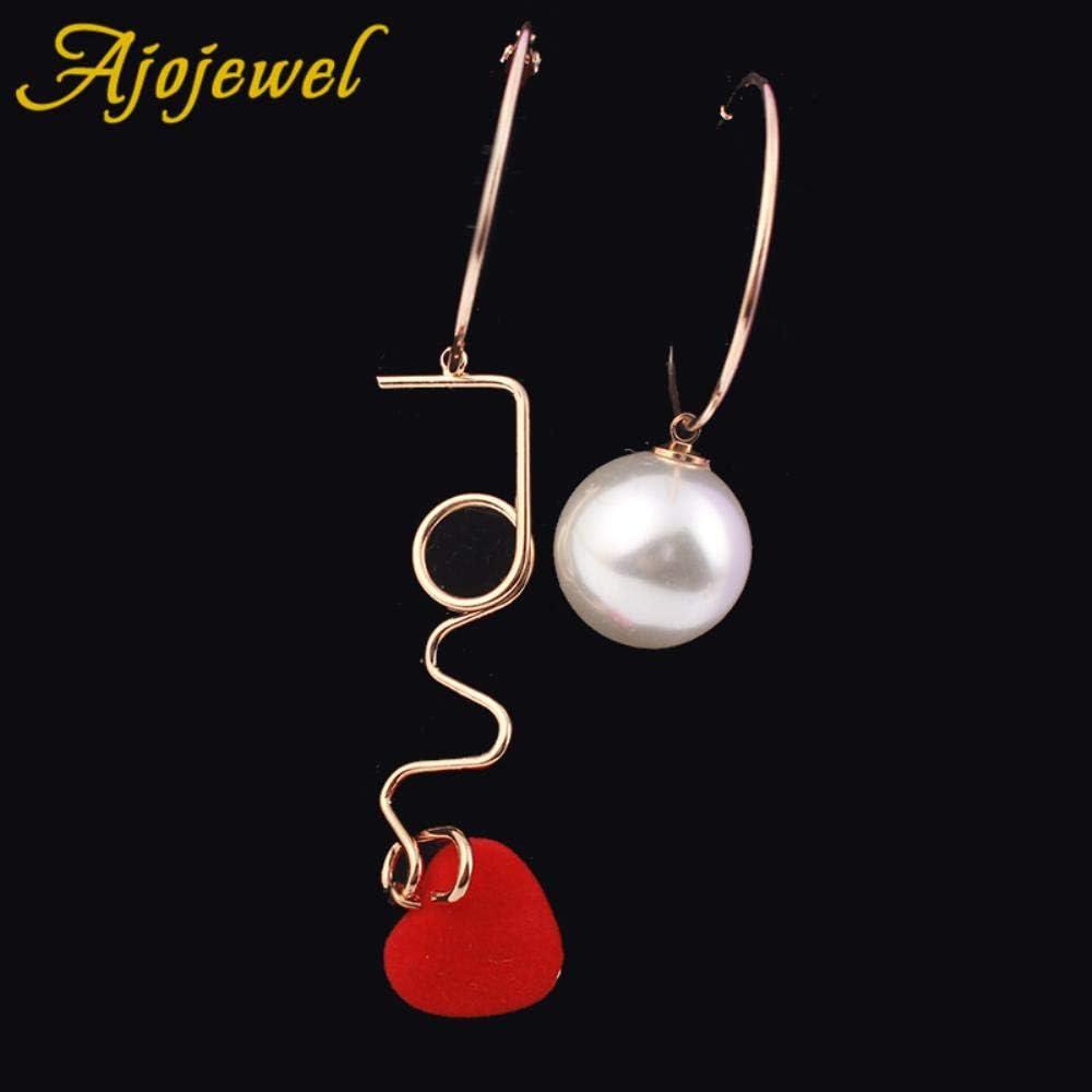 KFYU Carta de Amor Pendientes de aro con corazón Rojo de Terciopelo Joyería de Las Mujeres Perla simulada Pendientes asimétricos Gota